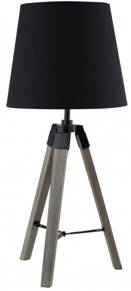 BRUBAKER Dreibein Tisch- oder Nachttischlampe 57 cm Holz Silbergrau / Schwarz - Designed in Germany