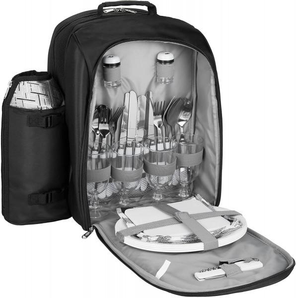 Picknickrucksack für 4 Personen Schwarz Silber 27 × 38,5 × 21 cm - inkl. Kühlfach