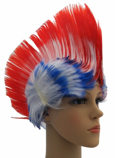 BRUBAKER USA Fan Perücke Irokese Iro-Perücke in Blau Rot Weiß