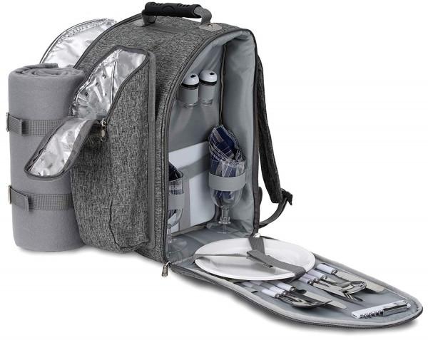 BRUBAKER Picknickrucksack für 2 Personen Grau mit Flaschenhalter und Decke