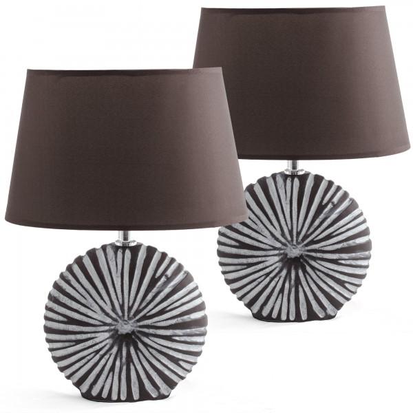 2er Set BRUBAKER Tischlampen oder Nachttischlampen Braun, Keramikfuß - 36 cm Hoch