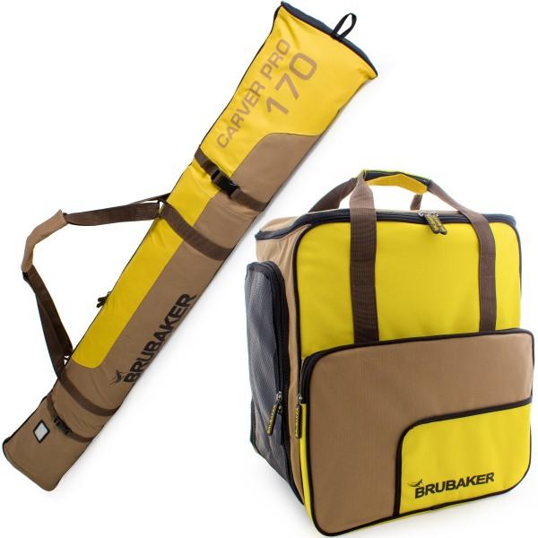 BRUBAKER Kombi Set Carver Pro - Limited Edition - Skisack und Skischuhtasche für 1 Paar Ski bis 190