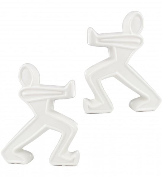 BRUBAKER 2er Set Buchstützen Keramik Figuren weiß 22 cm Höhe