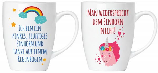 """BRUBAKER """"Man widerspricht dem Einhorn nicht"""" Tassen Set aus Keramik - Grußkarte und Geschenkpackung"""