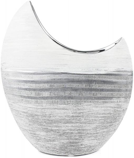BRUBAKER Vase 'Luna' 23,5 cm Höhe Porzellan silberfarbig weiß