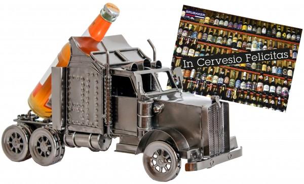 BRUBAKER Bier Flaschenhalter Truck Metall Skulptur Geschenk mit Geschenkkarte