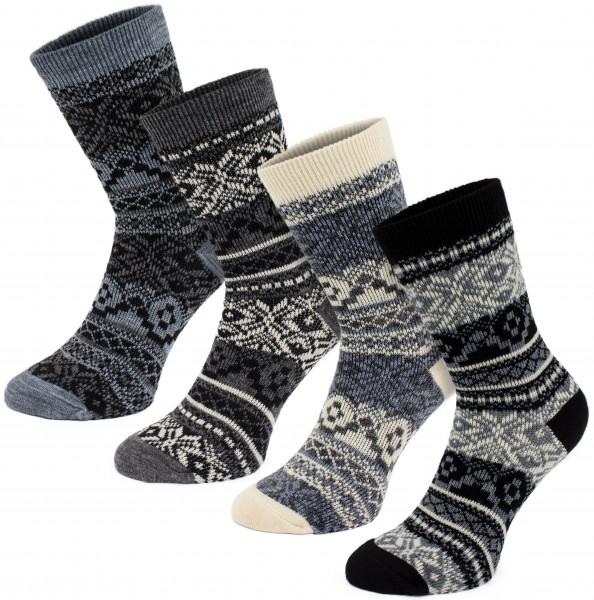 4 Paar Norweger Socken - Weihnachtssocken - Grau, Schwarz, Weiß