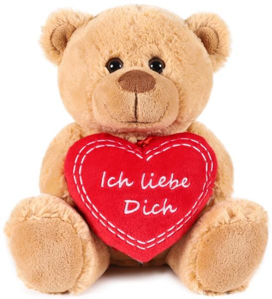 Teddy Plüschbär mit Herz - Ich liebe Dich - Teddybär Plüschteddy Kuscheltier Schmusetier - Hellbraun