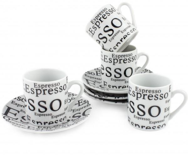 BRUBAKER 8-tlg. Espresso Tassen Set mit Untertellern Porzellan weiß mit Aufdruck