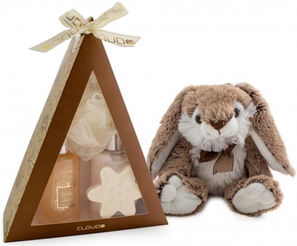 5-teiliges BRUBAKER Cosmetics Bade-Geschenkset 'Pyramide' gold mit flauschigem Plüschhasen