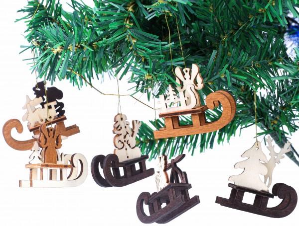 6-tlg. Set Schlitten - Baumschmuck für den Weihnachtsbaum - Christbaumschmuck aus natürlichem Holz