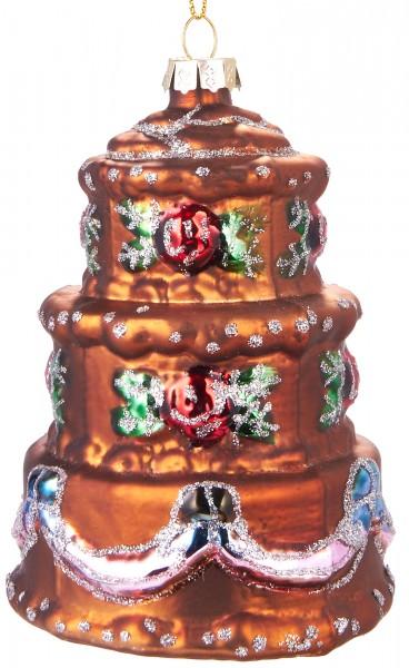 Torte Bunt - Handbemalte Weihnachtskugel aus Glas - Mundgeblasener Christbaumschmuck - 11 cm