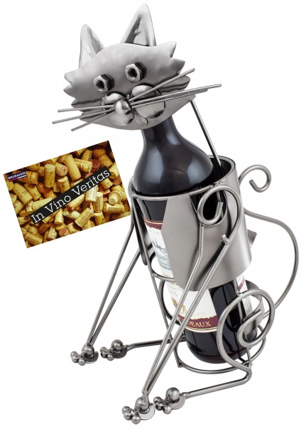 BRUBAKER Flaschenhalter Katze Flaschenständer Deko-Objekt Metall mit Grußkarte für Weingeschenk