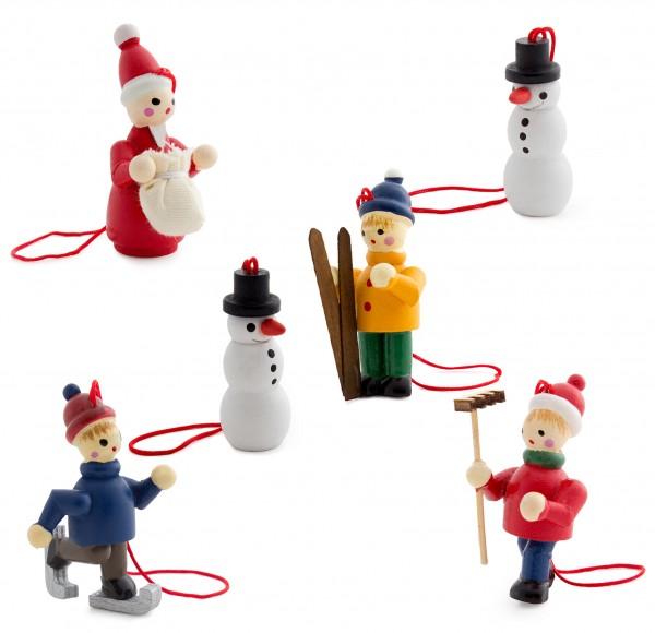 6 tlg. Set Weihnachtsbaumschmuck aus Holz - Weiße Weihnacht - 5 cm große Figuren - Handbemalt