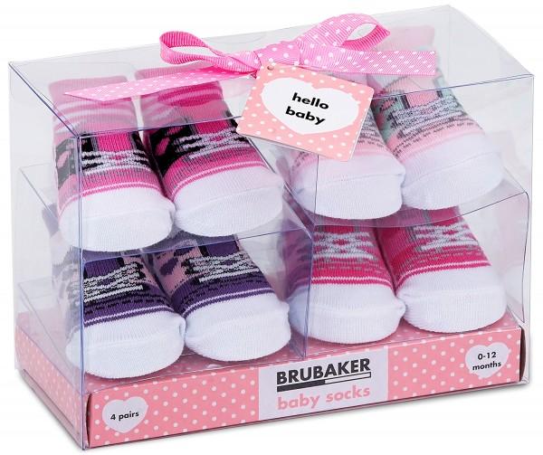 """4 Paar Babysocken """"Sneaker Design"""" in Geschenkverpackung, 0-12 Monate"""