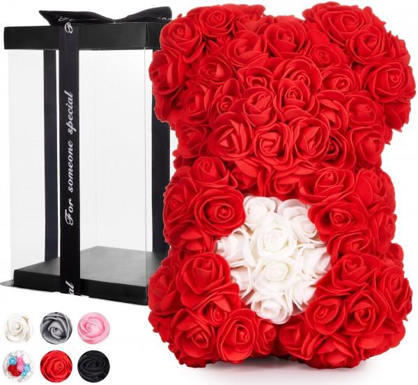 Rosenbär 25 cm mit Herz - Blumen Geschenk zum Valentinstag Geburtstag - Geschenkbox inklusive