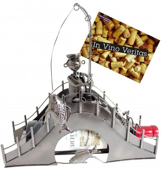 BRUBAKER Flaschenhalter Angler auf einer Brücke Metall Skulptur Geschenk mit Geschenkkarte