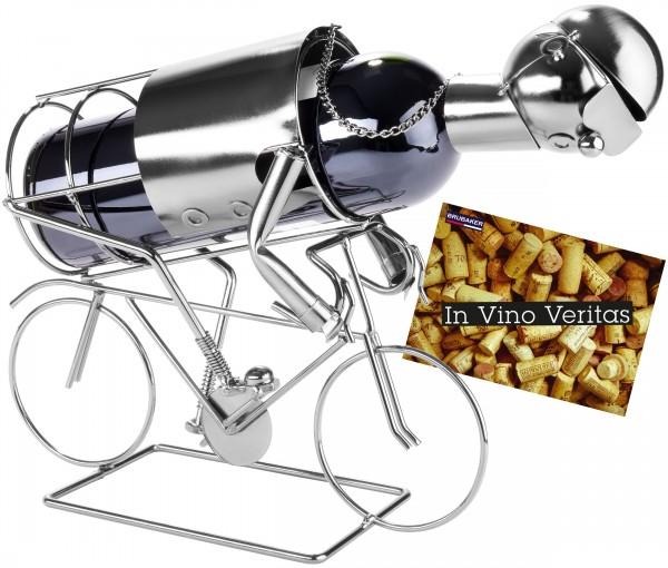 BRUBAKER Flaschenhalter Rennradfahrer Metall Skulptur mit Geschenkkarte