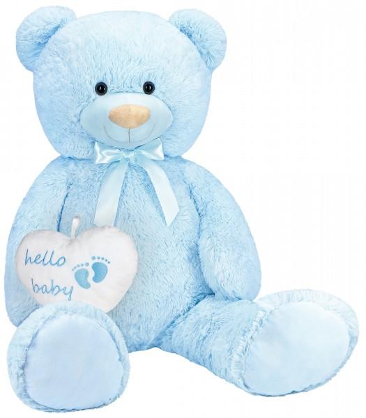 XXL Teddybär 100 cm mit Hello Baby Herz - Geschenk für Neugeborene - Kuscheltier - Hellblau
