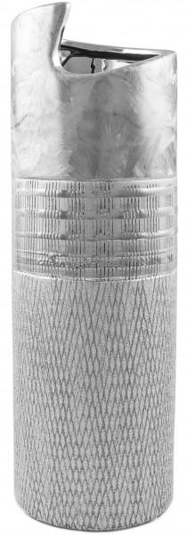 BRUBAKER Zylinder Vase 29,5 cm Höhe Porzellan Silber