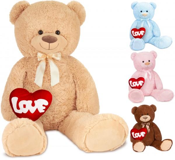 Teddybär mit Schleife 100 cm mit einem LOVE Herz - Stofftier Plüschtier Kuscheltier