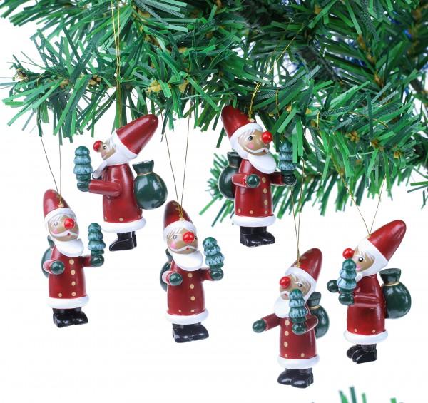 6-tlg. Set Weihnachtsmann - Baumschmuck für den Weihnachtsbaum - Christbaumschmuck aus Holz