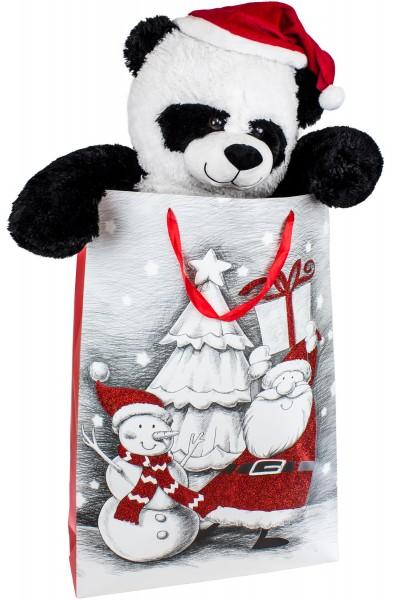 BRUBAKER XXL Panda mit Nikolausmütze - 100 cm groß in einer Geschenktüte mit Weihnachtsmotiven