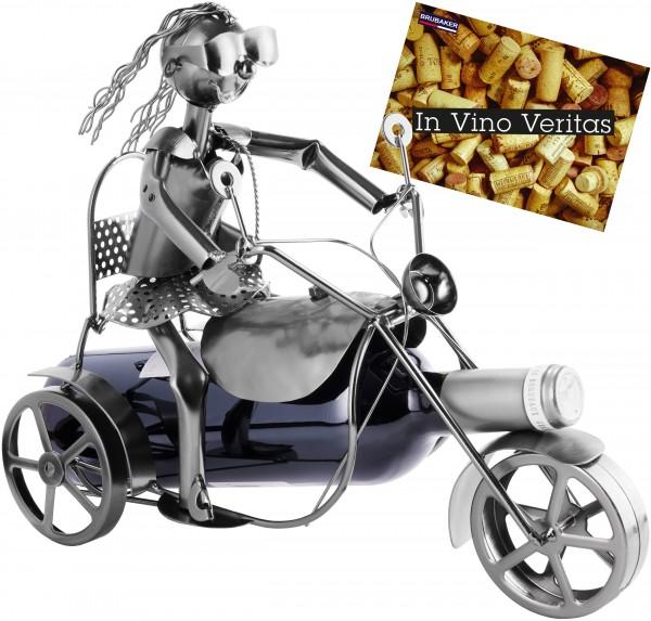 Weinflaschenhalter Motorradfahrerin - Weingeschenk Flaschenständer - Metallfigur mit Grußkarte