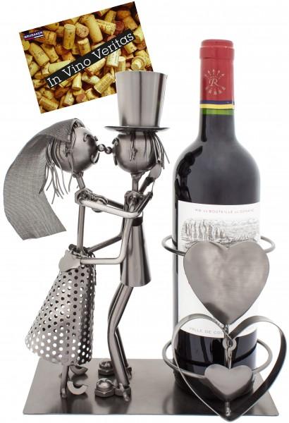BRUBAKER Flaschenhalter Hochzeitspaar - Flaschenständer aus Metall mit Grußkarte