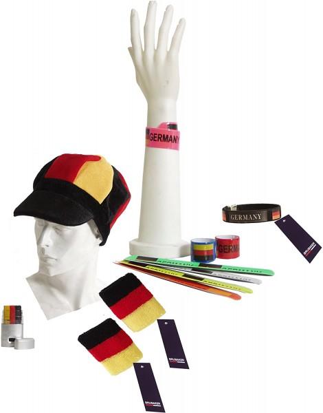 11-teiliges BRUBAKER Fußball Fanpaket Deutschland mit Kopfbedeckung, Schminke und Flexi Leucht-Armbä