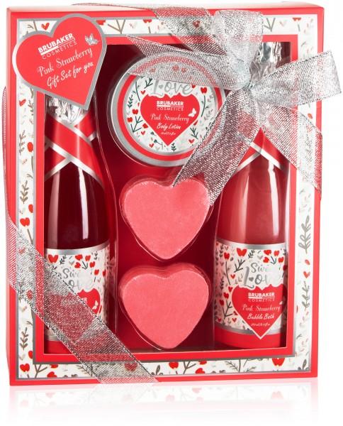 5-tlg. Bade- und Dusch Set Erdbeere Sweet Love - Pflegeset Geschenkset mit Blumen Design