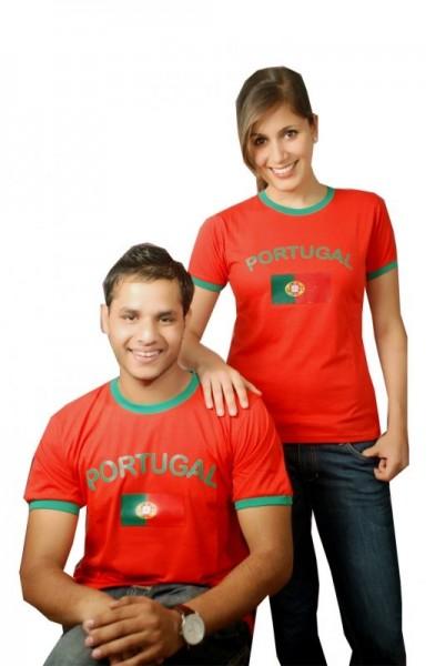 BRUBAKER Herren oder Damen Portugal Fan T-Shirt Rot