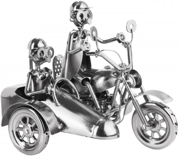 Schraubenmännchen Motorrad mit Beiwagen - Metallfigur Handarbeit
