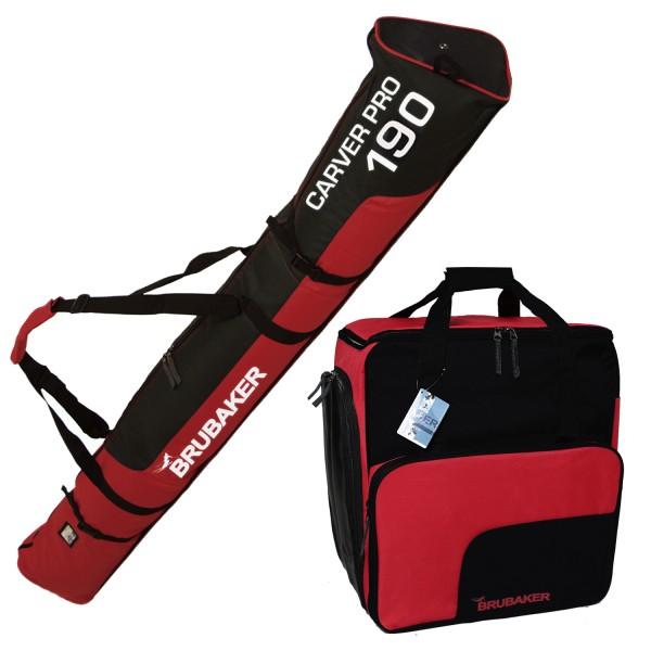 BRUBAKER Kombi Set Skisack und Skischuhtasche für 1 Paar Ski bis 190 cm + Stöcke + Schuhe + Helm Sch