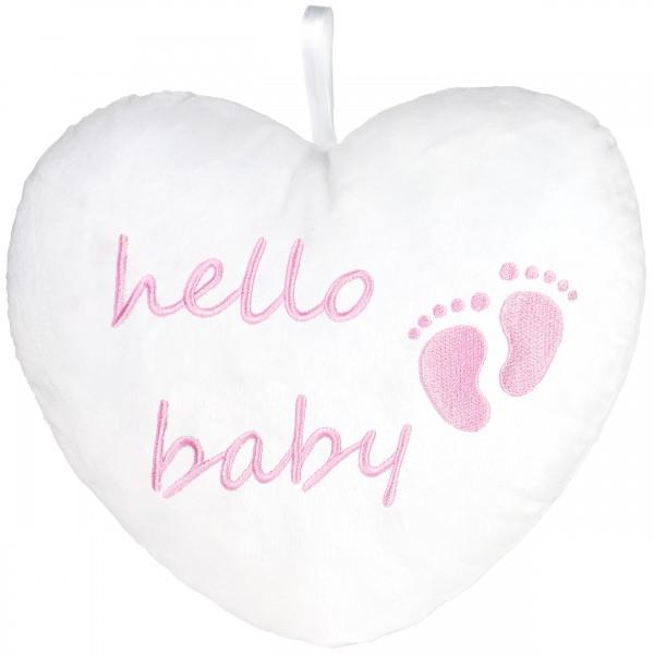 Plüschherz Hello Baby 25 cm - Babyparty Geschenk zur Geburt - Kissen für Neugeborene - Rosa