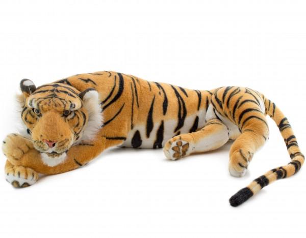 BRUBAKER Tiger liegend ruhend braun 85 cm Stofftier Plüschtier