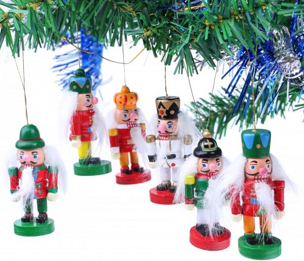 6-tlg. Set Nussknacker - Baumschmuck für den Weihnachtsbaum - Christbaumschmuck aus Holz