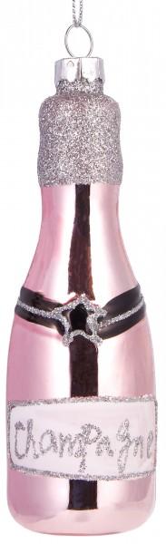 Champagner Rosé - Handbemalte Weihnachtskugel aus Glas - Mundgeblasene Baumkugel - 12 cm