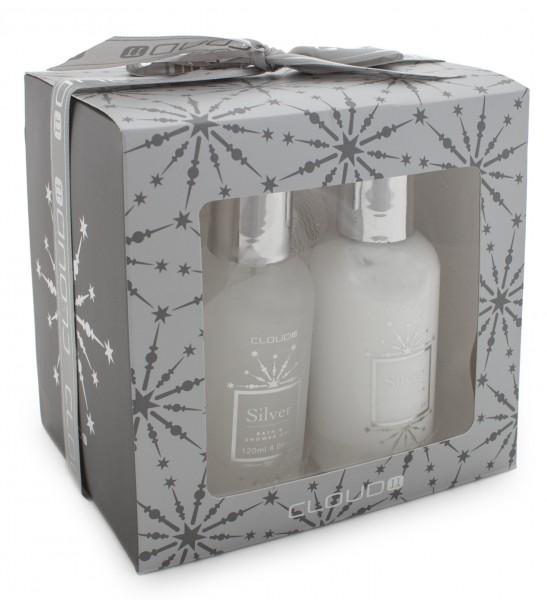 3-teiliges BRUBAKER Cosmetics Bade-Geschenkset silber