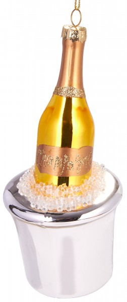 Champuskühler mit Flasche - Handbemalte Weihnachtskugel aus Glas - Mundgeblasene Baumkugel - 15 cm
