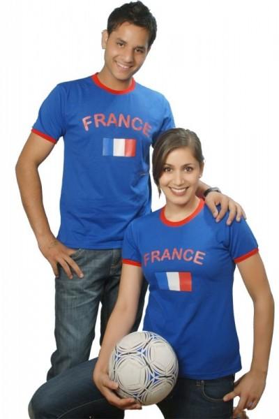 BRUBAKER Herren oder Damen Frankreich Fan T-Shirt Blau