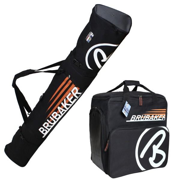 BRUBAKER Kombi Set Champion Skisack und Skischuhtasche für 1 Paar Ski bis 190 cm + Stöcke + Schuhe +