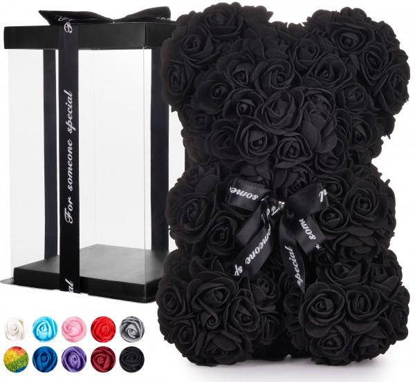 Rosenbär mit Schleife 25 cm - Blumen Geschenk zum Valentinstag Geburtstag - Geschenkbox inklusive