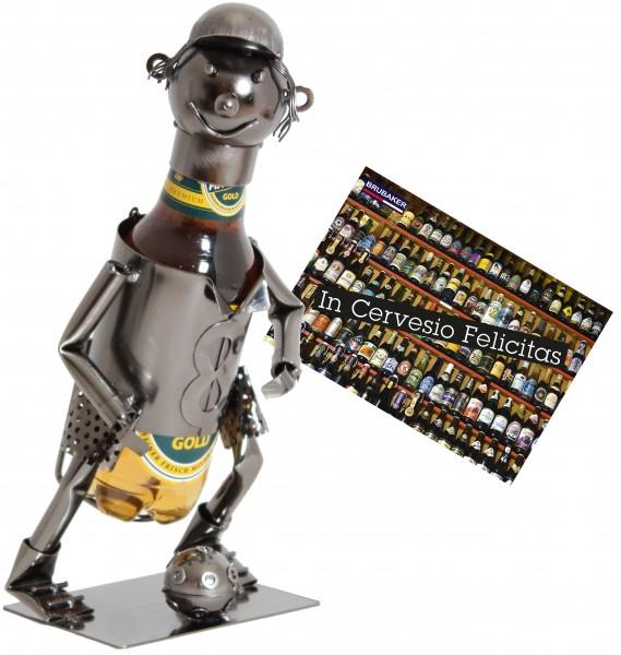 BRUBAKER Flaschenhalter Fußballspieler Metall Skulptur Geschenk mit Geschenkkarte