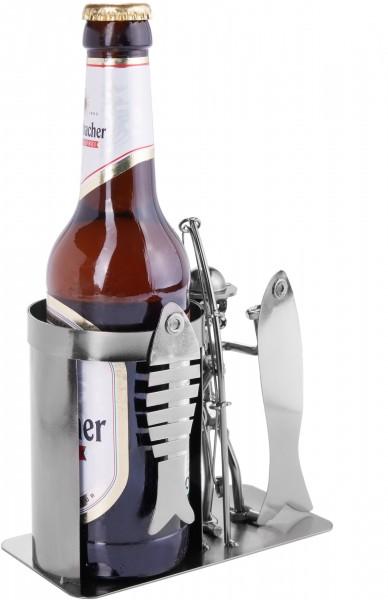 Schraubenmännchen Angler mit Fisch - Flaschen- und Dosenhalter - Bierflaschenhalter - Geschenkidee