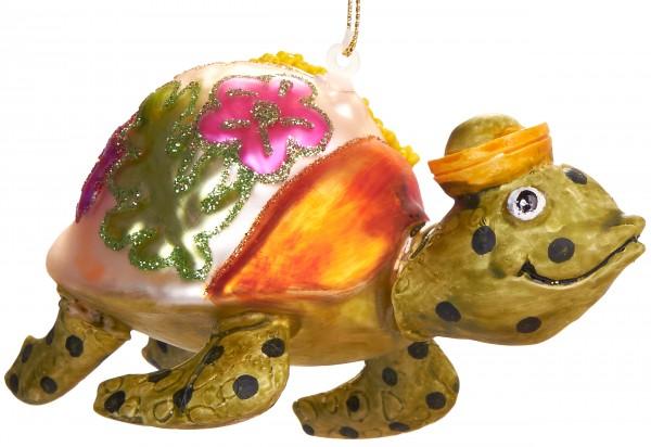Schildkröte Bunt - Handbemalte Weihnachtskugel aus Glas - Mundgeblasener Christbaumschmuck - 11 cm
