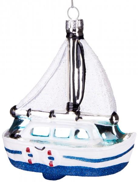 Weißes Segelboot - Handbemalte Weihnachtskugel aus Glas - Mundgeblasener Christbaumschmuck - 12 cm