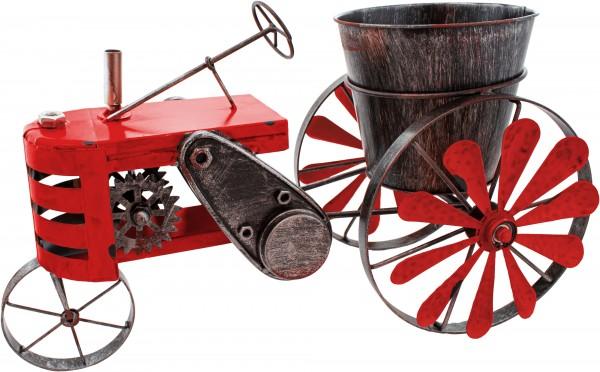 Vintage Traktor aus Metall - Rot - zum Bepflanzen - Windspiel - handbemalt & wetterfest