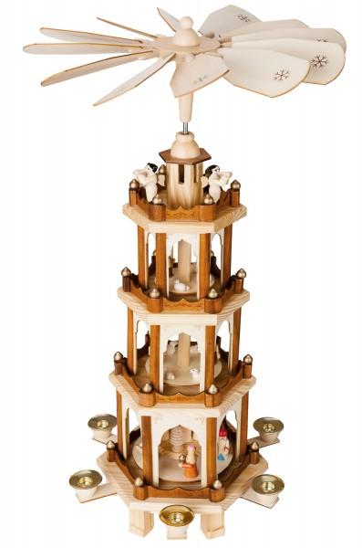 BRUBAKER Weihnachtspyramide aus Holz - 4 Etagen - NEU - 60 cm Höhe - handbemalte Figuren!