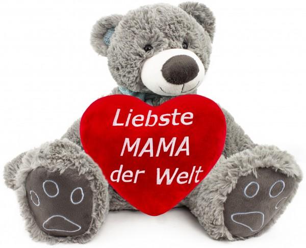 BRUBAKER Kuschelbär Teddybär 50 cm groß Grau mit einem Liebste Mama der Welt Herz
